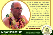H.H. Jayapataka Swami on Mayapur Institute /  HH. Jayapataka Swami, one of the most senior sannyasi disciple of H.D.G. A.C. Bhaktivedanta Swami Srila Prabhupada, continues to contribute to Mayapur's development as the International Headquarters of ISKCON by serving as a co-director. His service in Mayapur includes: Mayapur Development Committee member, Exhibits and Theme park Department Head of TOVP, and promotion of Sri Mayapur worldwide. He is currently a GBC representative, zonal secretary and co-secretary for many regions