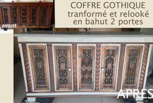 COFFRE GOTHIQUE TRANSFORME / Ce meuble est très ancien. Il était très sombre et pas pratique en tant que simple coffre. Donc il a été transformé en bahut et relooké.
