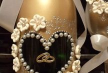 sparkling wine bottle & glass for wedding, bachelorette party