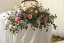 long and low top table/registrar wedding flowers