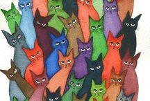 apprécier art perspective 1sec / Dans cette Art de chat je peux apercevoir les chays toutes en couleurs différentes.