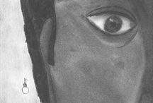 """Silencia / Fusains réalisés à partir de poèmes tirés du recueil SILENCIA (Les """"Muets"""").  Exercice de style, retranscrire le texte en image"""