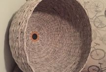 Lamp  Woven from Recycled newspaper paperwicker hand made / lampa z papierowej wikliny