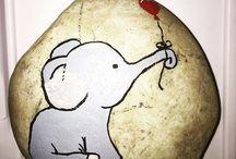 elephant painted rocks