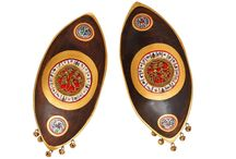 Set of 2 Boat Shaped Wall Décor with Dhokra and Warli Work