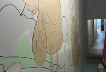 Evolution of the Studios entry hallway mural / Mural done by Mike Graves in the entry hallway to Bitfactory Studios over 4 days in May 2016
