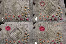 Ricamo fiori in lana