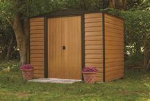 "Arrow Euro Dallas Woodbridge  Series Steel Storage / Electro Galavanized Steel Storage shed with Appealing horizontal siding in Woodgrain & coffee colors. This high wall, 71.3"", shed series comes in 5 different sizes.  6' x 5' , 8' x 6', x 10' x 6', 10' x 8' & 10' x 12' for any size storage need."