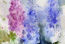 Rosa o blå akvareller