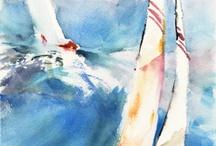 Aquarelles Watercolor mer et bateaux / Mer et bateaux
