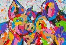 vrolijke schilderijen varken