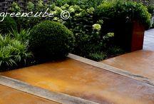 norfolk foundry garden / Cor-ten steel use in garden, cottage garden, greencube garden, modern cottage garden, corten troughs, Corten path
