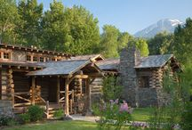 360 Ranch - Guest Cabin / Together with the Main Home, the 360 Ranch Guest Cabins offer even more spaces for friends and family to connect in the shadow of towering Emigrant Peak. Like the Main Home, the Guest Cabins draw design inspiration from the classic log lodges of The West, integrating smaller round logs and native stone to convey that distinctive historic feel.