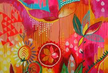 Colorful naive art of joy & various artist work / Jessica swift, Mati Rose McDonough, Kelly Rae Roberts, Khristian Howell, Michelle Armas, Leonie Dawson, Rachael Taylor & others