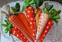 Tulipany i marchewki z materialu
