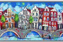vrolijke schilderijen stad