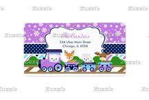 Purple Christmas Winter Arctic Animals Train / This design features a winter arctic train with cute animals - a polar bear, reindeer, arctic fox and moose. The background consists of white snowflakes on a bright purple background, purple, blue and navy blue stripes and a navy blue polka dot ribbon. Perfect for a winter party!
