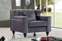 Harley Velvet Arm Chairs / MERIDIAN FURNITURE -   This Harley Arm CHair has a unique ZigZag design with tufted back. It is guaranteed to make your living room the highlight of any home. Throw pillows included! Available in Grey, Black and Navy.