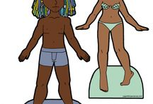 Paper Dolls of Color / Black paper dolls, Latino paper dolls, Asian paper dolls, Native American paper dolls, in short paper dolls with brown skin live here. Please note that some of these are historical should be viewed with a critical eye, such as Little Black Sambo, Mammy figures and any 19th century attempt at anything.