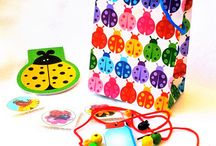 BUGS / About bugs kids love to play with in day care and kindergarten. Bug and lady bug party theme. DIY bug crafts, lady bug jewelry, bug note pads, party favors.