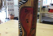 guitar acrylic painting on wine bottle