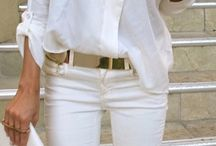 White passion / Look in Total White... Jeans, blouses , T-shirts , jackets , dresses and skirts all in White...only for the accessories is given the color!