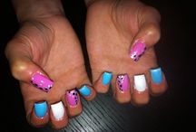 Gel nails done by me  / Gel nails - nail art, glitter, sparkles, rhinestones, hand painted nail art
