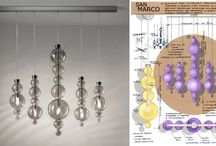 "San Marco - Evi Style / A de-structured restyle of the classic Venetian chandelier, that recall the rounded domes and features of the facade of Saint Mark's Basilica. 3 basic models in ""torcion"" blown glass - each equipped with own bulb and sequence-extension - are easy to customize with an infinite variety of arrangements that let you create your personal contemporary style.  The frames are made of chrome-plated metal with blown glass elements available in the following colours: amber, clear crystal and smoke grey."