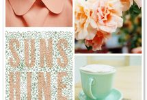 Peach and mint green