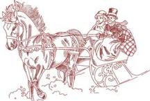 Christmas Stitchery/Embroide/Redwork/Coloring/Printabel/Digi Stamp