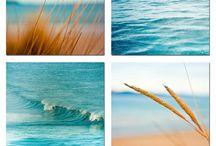 Maisema: meri, hiekka ja aurinko