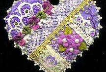Brooch, hair barrette, earrings - bead embroidery