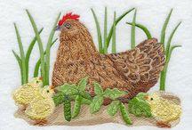machine embroidery birds
