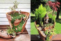 Mini Gardens on broken flowerpots / i really love this idea / by I am bear lover