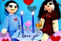 Amigurumi aşık sevgililer ( kişiye özel amigurumi bebekler)