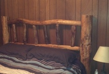 Home / White Pine log headboard I made.  / by Marty Gilley