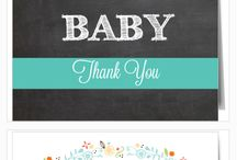 Baby Shower Thank Yous / Find and array of cute and fully customizable baby shower thank you cards.  Change the color of each element on any design to create a card that is as unique as you are. / by Basic Invite