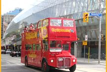 Double Deckers in Toronto / Our collection of distinctive red double decker buses.