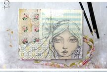 Faces / Mixed media, art, inspiration, craft, anatomy, art journal,  drawing, getting started, beginners, craft, textiles, faces
