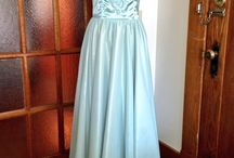 First Project  / Strapless, sweetheart neckline, hand beaded design on front bodice, long gathered skirt.