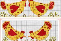 cross stitch chicken