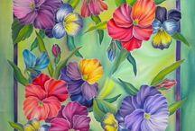 Çok renkli Çiçek karesi