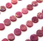 14mm Round Natural Pink Color Coated Druzy Loose Gemstone