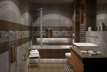 serie JOY - Σε γήινες αποχρώσεις / Σχέδια μπάνιου με διάσταση 1.85 x 2.85 m και ελεύθερο ύψος 2,40 m. Το βασικό δομικό στοιχείο τα πλακάκια Joy σε αποχρώσεις του Beige και του Marron και με διάσταση 20 x 50 cm.