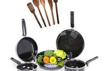 5 Pcs Non-Stick Induction Safe Cookware & 5 Pcs Skimmer Set