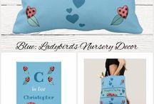 Nursery Decor ladybirds blue