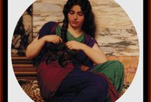 Godward cross stitch patterns by Cross Stitch Collectibles / Absolutely gorgeous fine art counted cross stitch patterns adapted from the stylish Neo-Classicist paintings of English painter John William Godward. Designs by Kathleen George, Cross Stitch Collectibles