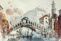Travel sketches / Water colour or other