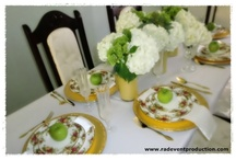 Tablescape with white and green Hydrangea / This beautiful tablescape was featured in chic galleria magazine by Rhonda Davis of RAD Event Production. Green and white Hydrangrea centerpiece