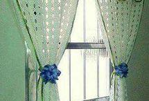 cortinas de crochê.